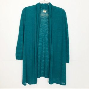 EUC Yellow Bird Teal Shadowsleeve long cardigan